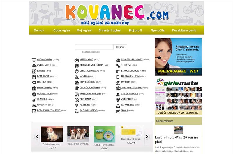 Kovanec.com - Mali oglasi za vsak žep